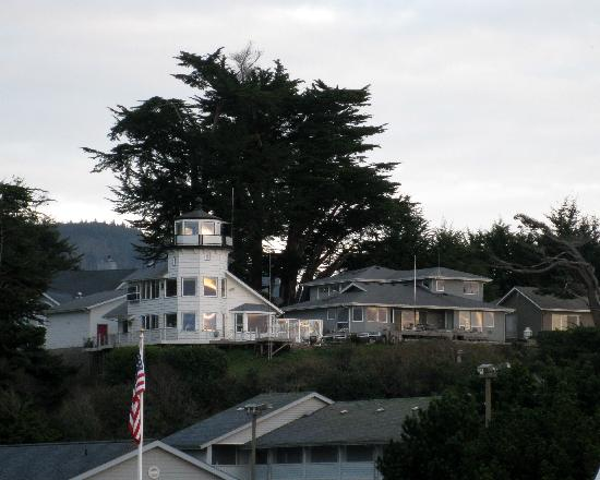 Neighbors to Ocean Sites Motel incorporated a Lighthouse into the construction of their home that overlooks Sport Haven Beach and the Brookings-Harbor.